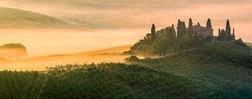 Panorama Sonnenaufgang im Belvedere in der Toskana, Italien