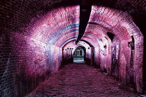 Pink illuminated canal tunnel Oudegracht Utrecht