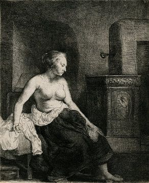Rembrandt van Rijn, Frau sitzend halb bekleidet neben einem Ofen, 1658