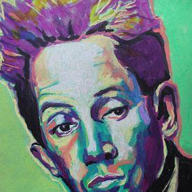 Egon Schiele Porträt in Grün von Helia Tayebi Art