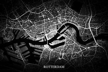 Rotterdam - Abstrakte Karte in Schwarz-Weiß von Art By Dominic