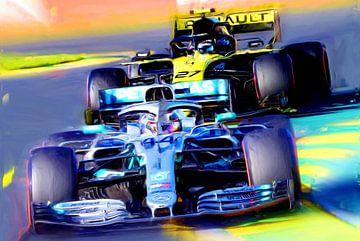 Lewis Hamilton leading Nico Hulkenberg van Jean-Louis Glineur alias DeVerviers
