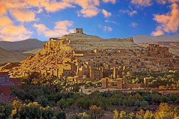De ommuurde stad Ait ben Haddou bij Ouarzazate in Marokko Afrika van