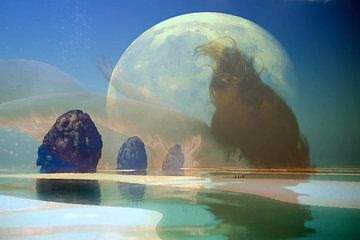 Frau in bunter Landschaft mit der Erde als Hintergrund (Welt) von Cor Heijnen