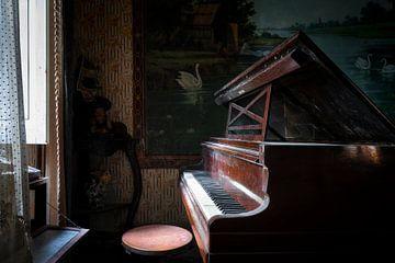 Verlaten Piano in het Donker. van Roman Robroek
