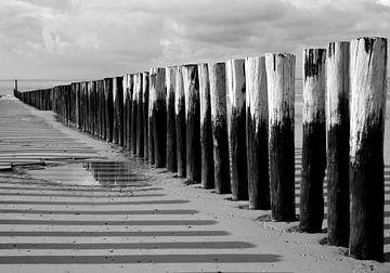 Wellenbrecher entlang der Küste von Zeeland in Schwarz-Weiß von Koolspix