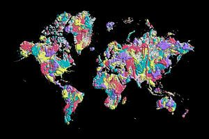 POP ART Weltkarte | Farbspritzer
