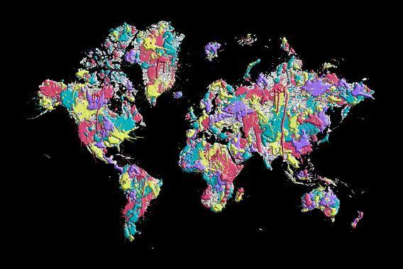 POP ART Weltkarte | Farbspritzer von Melanie Viola