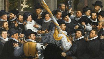 Bankett der Mitglieder der Bürgergarde Haarlem Calivermen, Cornelis van Haarlem