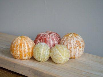 Variation über Obststilleben mit geschälten Zitrusfrüchten. von Evelien Brouwer