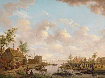 Landschap met vissers en turfstekende boeren in het laagveen, Hendrik Willem Schweickhardt