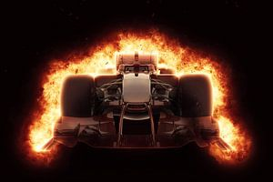F1 formule 1 auto met speciaal vuureffect van Natasja Tollenaar