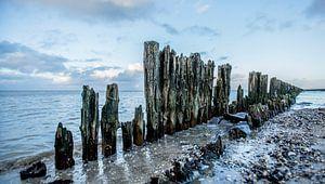 Paesens Moddergat palen in de waddenzee van Berend Drent