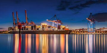 Hamburg Container Terminal in de haven van Hamburg van Voss Fine Art Fotografie