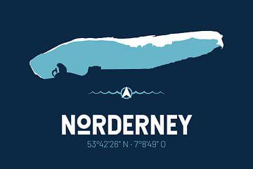Norderney | Design kaart | Silhouet | Minimalistische kaart van ViaMapia