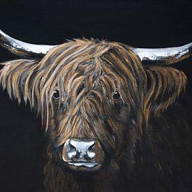 Portrait en noir et or du Scottish Highlander sur Bianca ter Riet