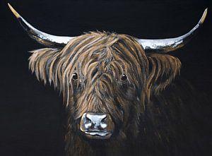 Gemälde Porträt Schottischer Highlander in Schwarz und Gold
