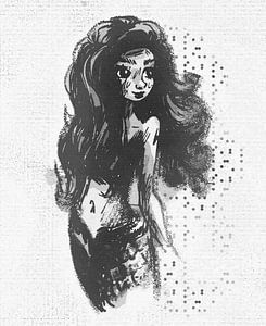 Schwarz-weiße Meerjungfrau