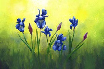 Schwertlilien in Blauviolett von Tanja Udelhofen