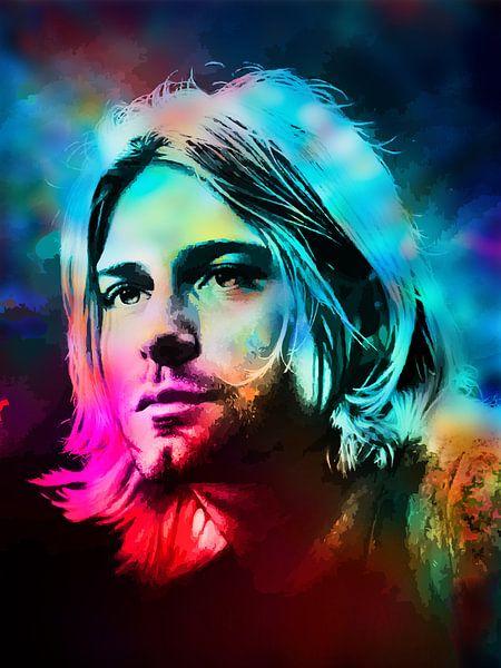 Kurt Cobain Abstraktes Porträt in Blau, Rot, Rosa, Grün von Art By Dominic
