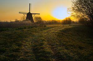 zonsopkomst achter de molen van Bart Nikkels
