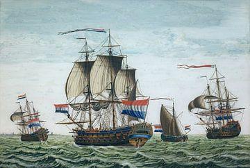 linieschip Prins Friso van de Admiraliteit van Friesland - 1800-1850 van Atelier Liesjes