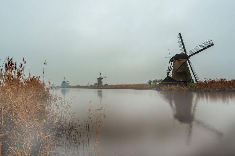 Mist over de windmolens van de Kinderdijk van Brian Morgan