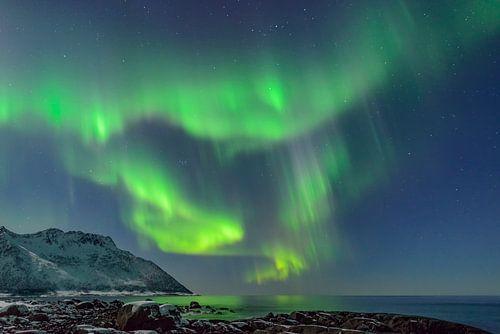 Poollicht of Noorderlicht in de nacht boven Noord-Noorwegen