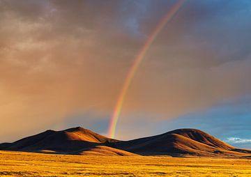 Een regenboog in Nevada van Henk Meijer Photography