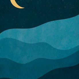 Nacht in de Bergen - Abstracte Print van MDRN HOME