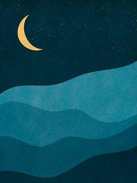 Nacht in de Bergen - Abstracte Print