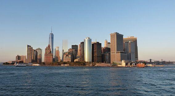New York Skyline tijdens zonsondergang