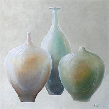 Stijlvolle combinatie van vazen in pasteltinten van Ine Straver
