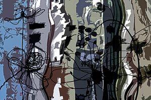 abstract met bloemen van Hanneke Luit
