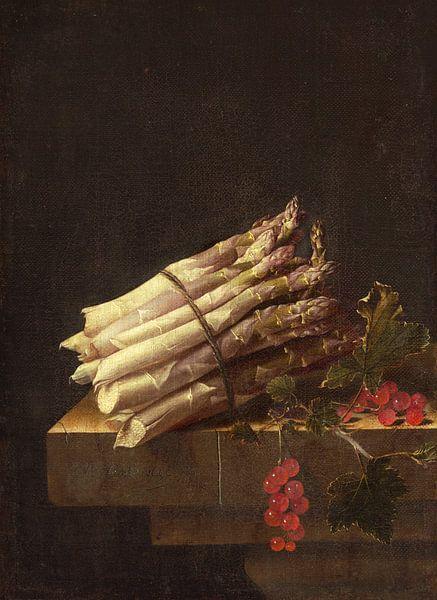 Stillleben mit Spargelbündel und Zweig mit roten Johannisbeeren - Adriaen Coorte von Marieke de Koning
