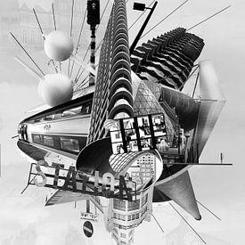 Collage Eindhoven en noir et blanc sur Marianne van der Zee