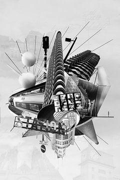 Collage Eindhoven in zwart wit van Marianne van der Zee