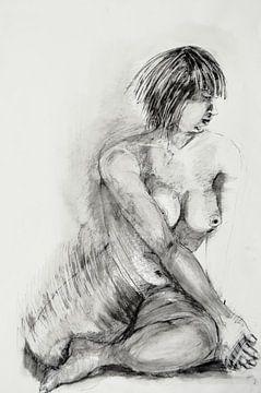 Naaktmodel Tekening, Nude model Drawing, Dessin de Modèle Nu, Aktmodell Zeichnung van Sylvia Dekker