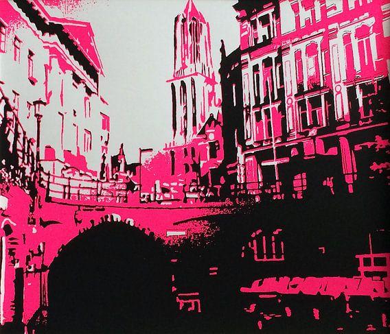 Utrecht Domtoren roze van Larissa Beentjes