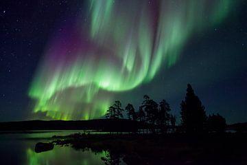 Noorderlicht boven een meer in Lapland, Finland, Europa van Nature in Stock