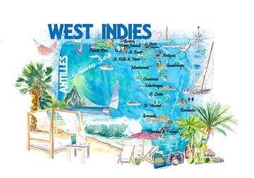 Westindische Inseln Illustrierte Reisekarte mit Leeward und Windward Antillen von Markus Bleichner