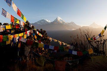 Zonsopgang in het Annapurna gebergte - Nepal van Marvin de Kievit