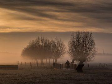 Eenzame fietser in de mist van Marjo Kusters