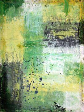 Vierkante VI in groen, geel, zwart en wit van elha-Art