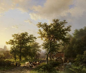 Landschap met watermolen en veedrijvende boeren, Barend Cornelis Koekkoek sur