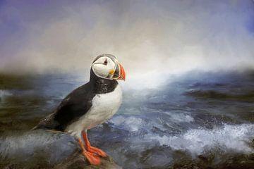 Meeresblick mit Papageientaucher auf Felsen und brechenden Wellen von Diana van Tankeren
