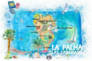 La Palma geïllustreerde reiskaart met wegen en hoogtepunten van Markus Bleichner