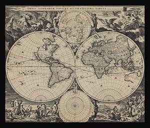 Oude wereldkaart van omstreeks 1675