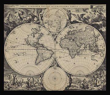 Oude wereldkaart van omstreeks 1675 van Gert Hilbink