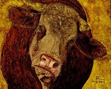 Brandschildering Curious Cow van ruud harberts